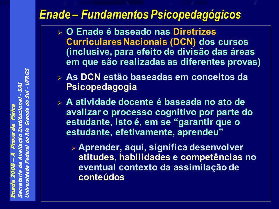 Enade 2008 – A Prova de Física Secretaria de Avaliação Institucional - SAI Universidade Federal do Rio Grande do Sul - UFRGS O Enade é baseado nas Diretrizes Curriculares Nacionais (DCN) dos cursos (inclusive, para efeito de divisão das áreas em que são realizadas as diferentes provas) As DCN estão baseadas em conceitos da Psicopedagogia A atividade docente é baseada no ato de avalizar o processo cognitivo por parte do estudante, isto é, em se garantir que o estudante, efetivamente, aprendeu Aprender, aqui, significa desenvolver atitudes, habilidades e competências no eventual contexto da assimilação de conteúdos Enade – Fundamentos Psicopedagógicos