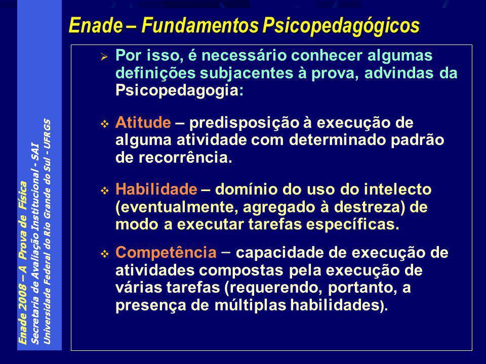 Enade 2008 – A Prova de Física Secretaria de Avaliação Institucional - SAI Universidade Federal do Rio Grande do Sul - UFRGS Por isso, é necessário co