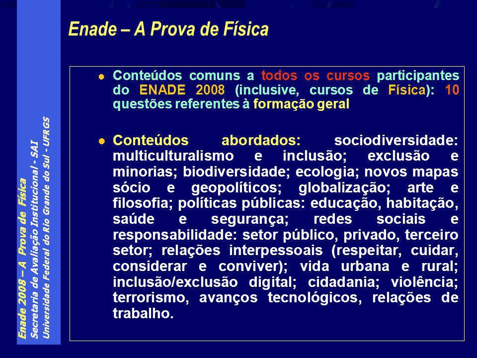Enade 2008 – A Prova de Física Secretaria de Avaliação Institucional - SAI Universidade Federal do Rio Grande do Sul - UFRGS Conteúdos comuns a todos