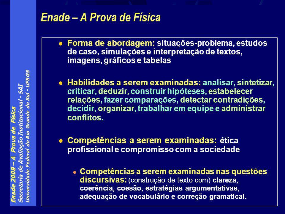 Enade 2008 – A Prova de Física Secretaria de Avaliação Institucional - SAI Universidade Federal do Rio Grande do Sul - UFRGS Forma de abordagem: situa