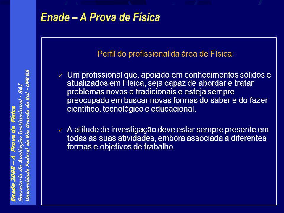 Enade 2008 – A Prova de Física Secretaria de Avaliação Institucional - SAI Universidade Federal do Rio Grande do Sul - UFRGS Perfil do profissional da