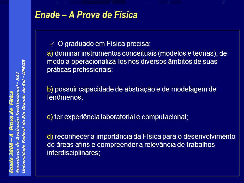 Enade 2008 – A Prova de Física Secretaria de Avaliação Institucional - SAI Universidade Federal do Rio Grande do Sul - UFRGS O graduado em Física prec