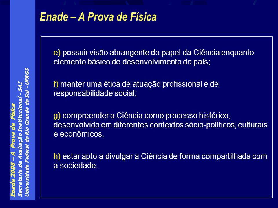 Enade 2008 – A Prova de Física Secretaria de Avaliação Institucional - SAI Universidade Federal do Rio Grande do Sul - UFRGS e) possuir visão abrangen