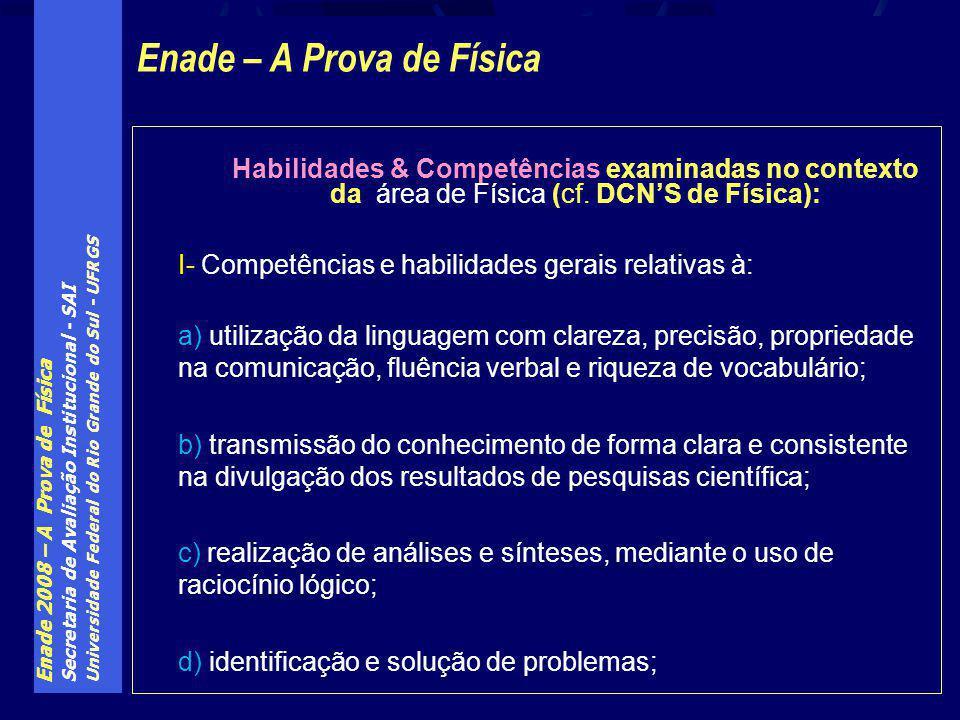 Enade 2008 – A Prova de Física Secretaria de Avaliação Institucional - SAI Universidade Federal do Rio Grande do Sul - UFRGS Habilidades & Competências examinadas no contexto da área de Física (cf.