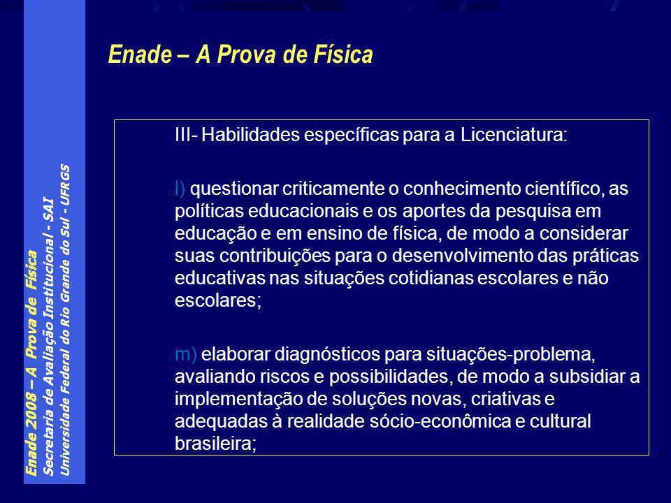Enade 2008 – A Prova de Física Secretaria de Avaliação Institucional - SAI Universidade Federal do Rio Grande do Sul - UFRGS Enade – A Prova de Física