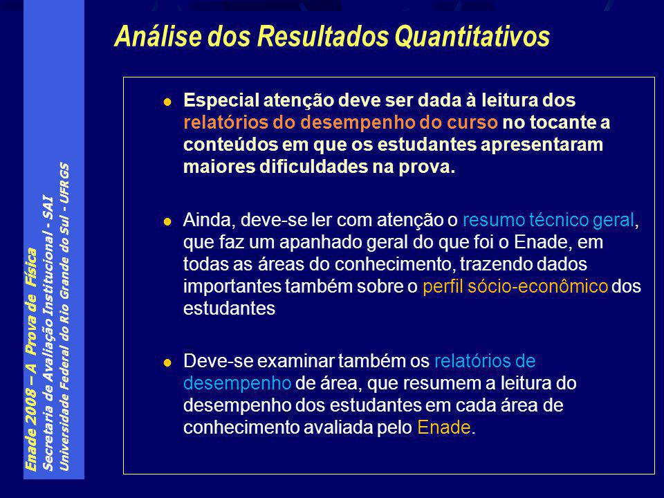 Enade 2008 – A Prova de Física Secretaria de Avaliação Institucional - SAI Universidade Federal do Rio Grande do Sul - UFRGS Especial atenção deve ser