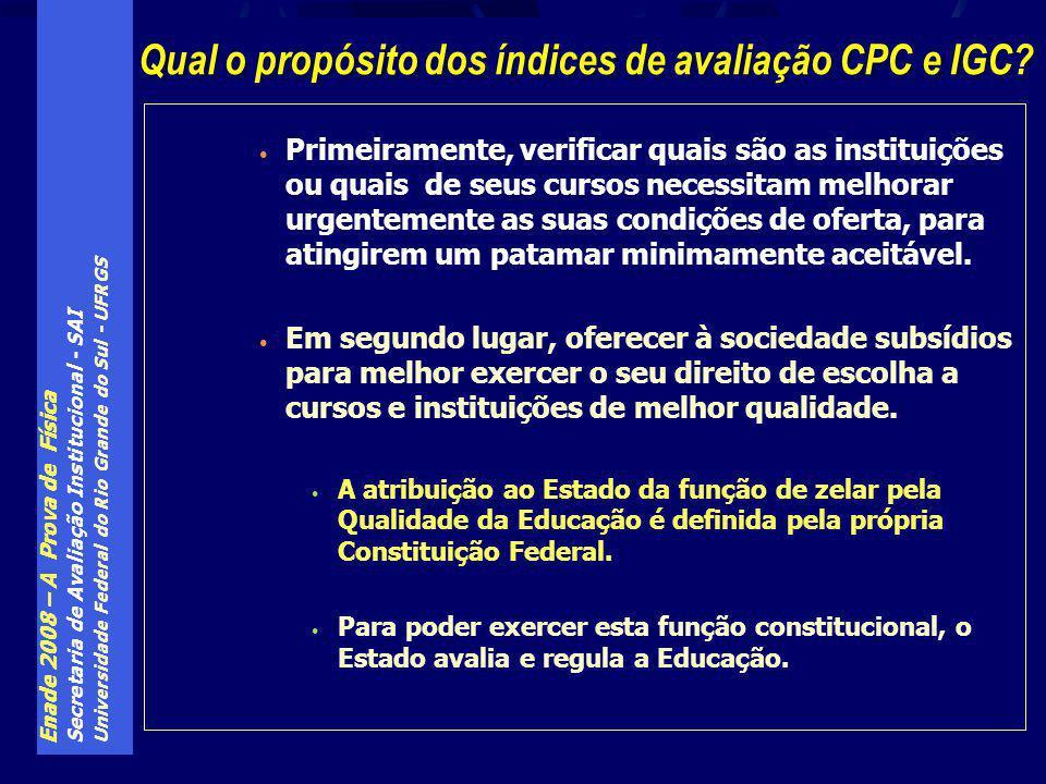 Enade 2008 – A Prova de Física Secretaria de Avaliação Institucional - SAI Universidade Federal do Rio Grande do Sul - UFRGS Primeiramente, verificar