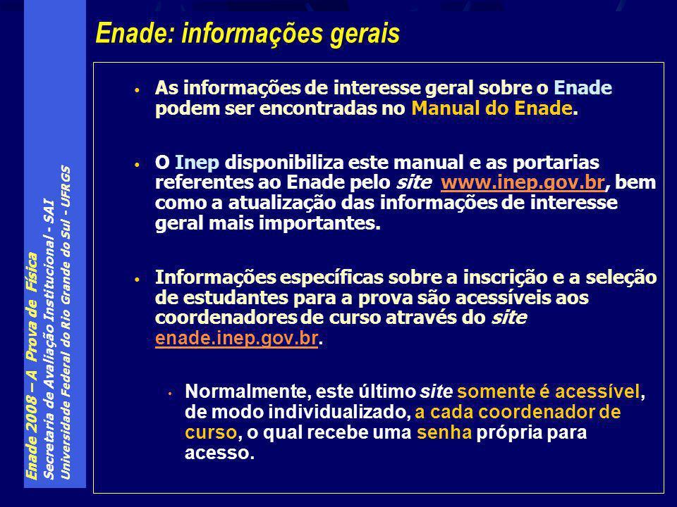 Enade 2008 – A Prova de Física Secretaria de Avaliação Institucional - SAI Universidade Federal do Rio Grande do Sul - UFRGS As informações de interesse geral sobre o Enade podem ser encontradas no Manual do Enade.