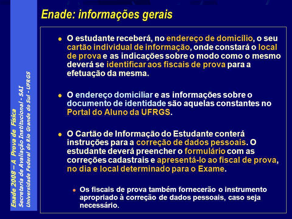 Enade 2008 – A Prova de Física Secretaria de Avaliação Institucional - SAI Universidade Federal do Rio Grande do Sul - UFRGS O estudante receberá, no