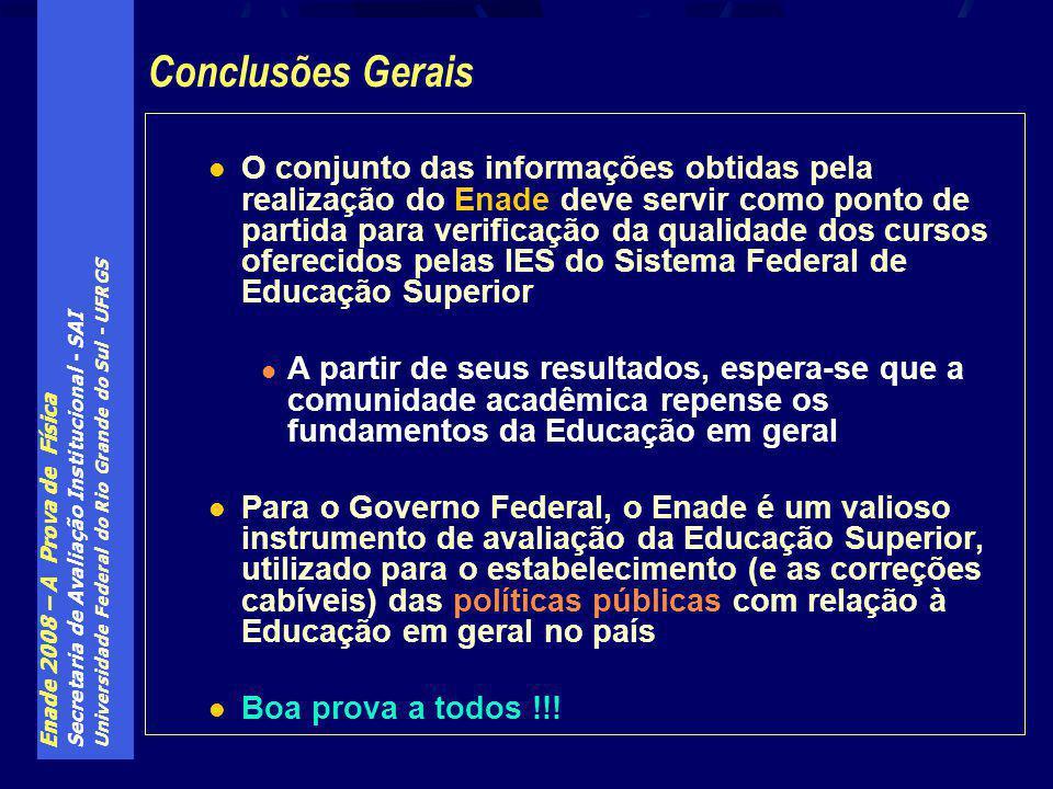 Enade 2008 – A Prova de Física Secretaria de Avaliação Institucional - SAI Universidade Federal do Rio Grande do Sul - UFRGS O conjunto das informaçõe