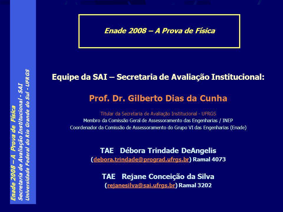 Enade 2008 – A Prova de Física Secretaria de Avaliação Institucional - SAI Universidade Federal do Rio Grande do Sul - UFRGS Equipe da SAI – Secretaria de Avaliação Institucional: Prof.