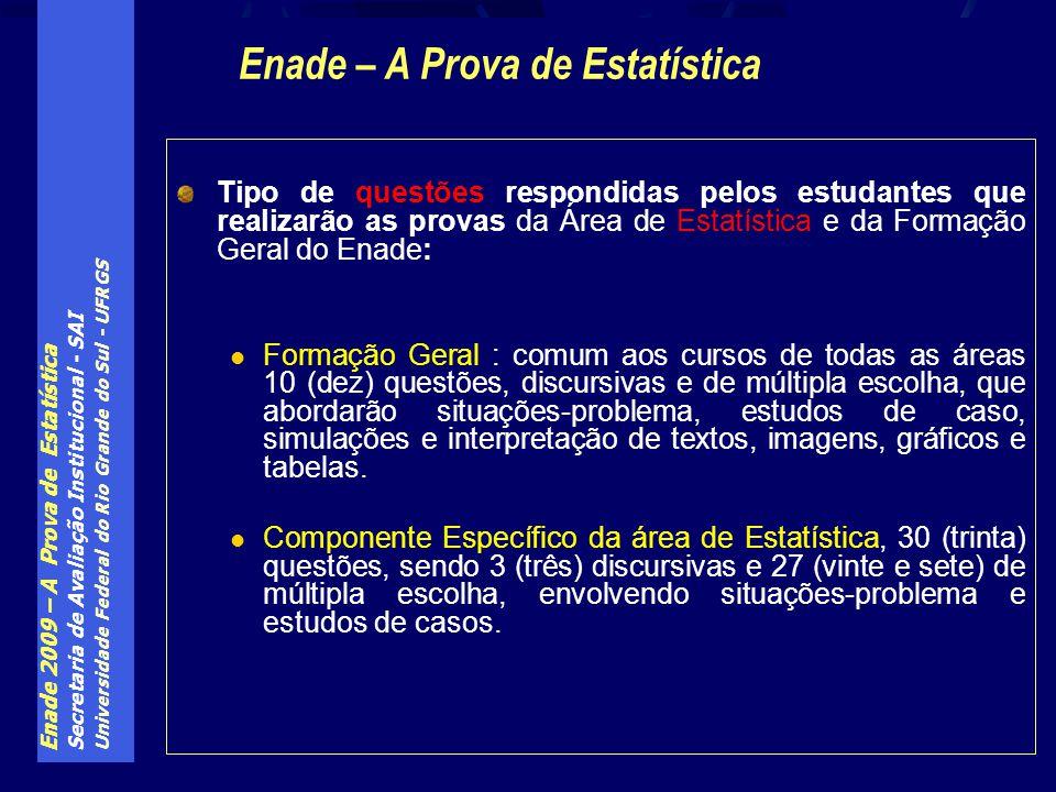 Enade 2009 – A Prova de Estatística Secretaria de Avaliação Institucional - SAI Universidade Federal do Rio Grande do Sul - UFRGS Tipo de questões res