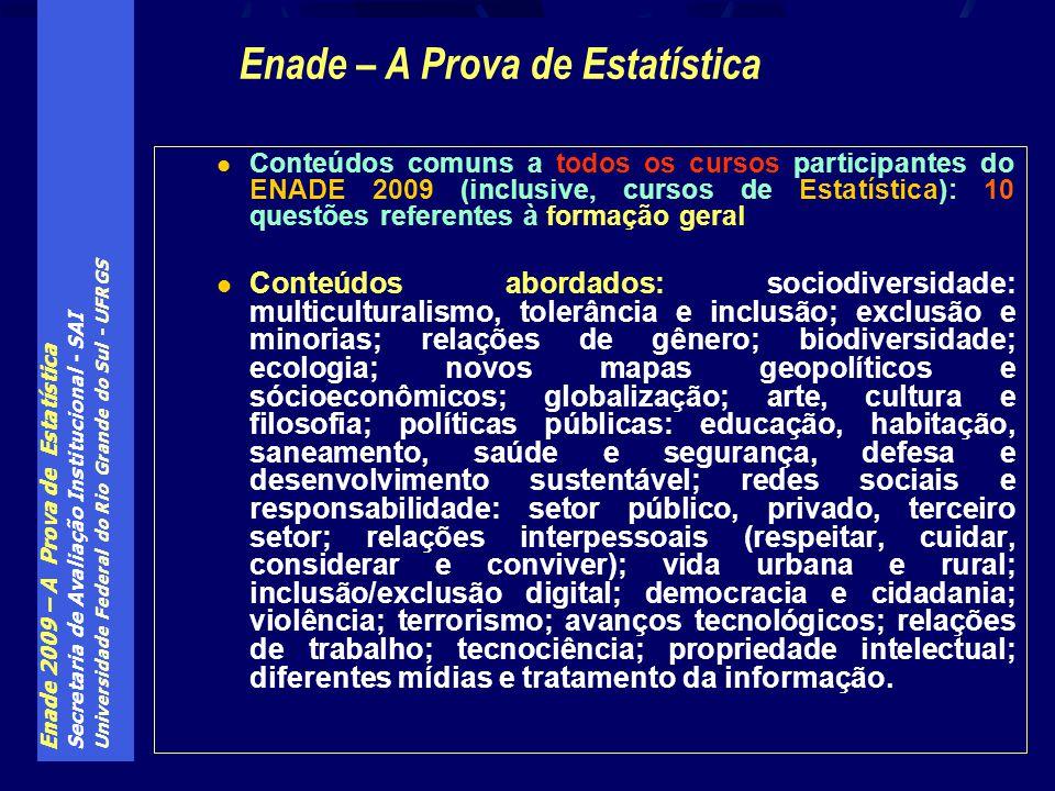 Enade 2009 – A Prova de Estatística Secretaria de Avaliação Institucional - SAI Universidade Federal do Rio Grande do Sul - UFRGS Conteúdos comuns a t