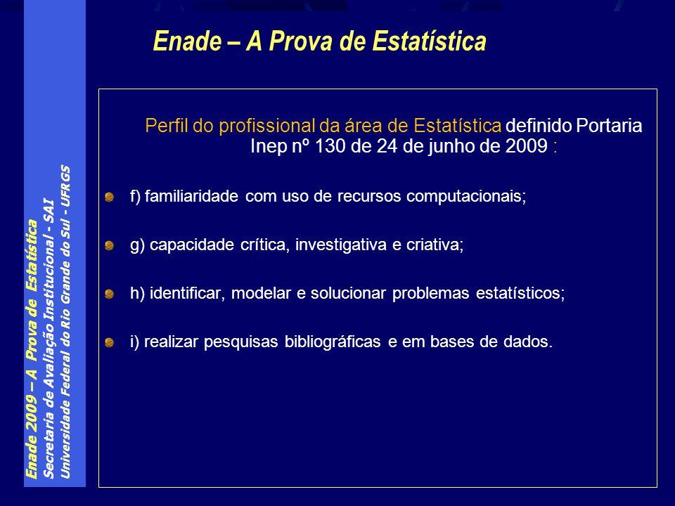 Enade 2009 – A Prova de Estatística Secretaria de Avaliação Institucional - SAI Universidade Federal do Rio Grande do Sul - UFRGS Perfil do profission