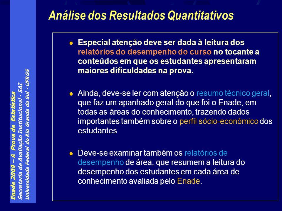 Enade 2009 – A Prova de Estatística Secretaria de Avaliação Institucional - SAI Universidade Federal do Rio Grande do Sul - UFRGS Especial atenção dev