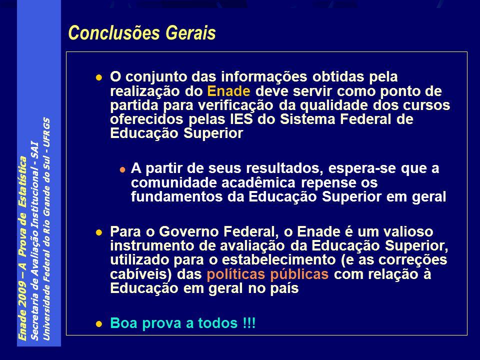 Enade 2009 – A Prova de Estatística Secretaria de Avaliação Institucional - SAI Universidade Federal do Rio Grande do Sul - UFRGS O conjunto das infor
