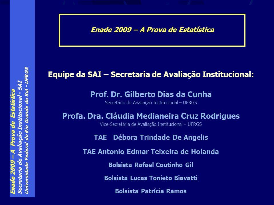 Enade 2009 – A Prova de Estatística Secretaria de Avaliação Institucional - SAI Universidade Federal do Rio Grande do Sul - UFRGS Enade 2009 – A Prova