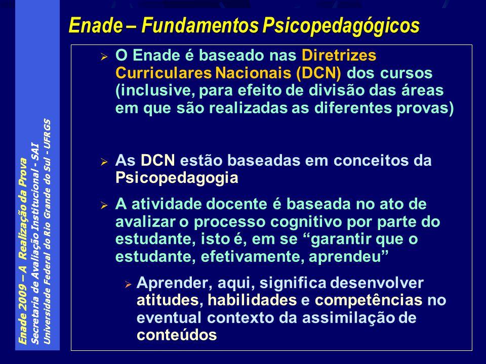 Enade 2009 – A Realização da Prova Secretaria de Avaliação Institucional - SAI Universidade Federal do Rio Grande do Sul - UFRGS O Enade é baseado nas Diretrizes Curriculares Nacionais (DCN) dos cursos (inclusive, para efeito de divisão das áreas em que são realizadas as diferentes provas) As DCN estão baseadas em conceitos da Psicopedagogia A atividade docente é baseada no ato de avalizar o processo cognitivo por parte do estudante, isto é, em se garantir que o estudante, efetivamente, aprendeu Aprender, aqui, significa desenvolver atitudes, habilidades e competências no eventual contexto da assimilação de conteúdos Enade – Fundamentos Psicopedagógicos