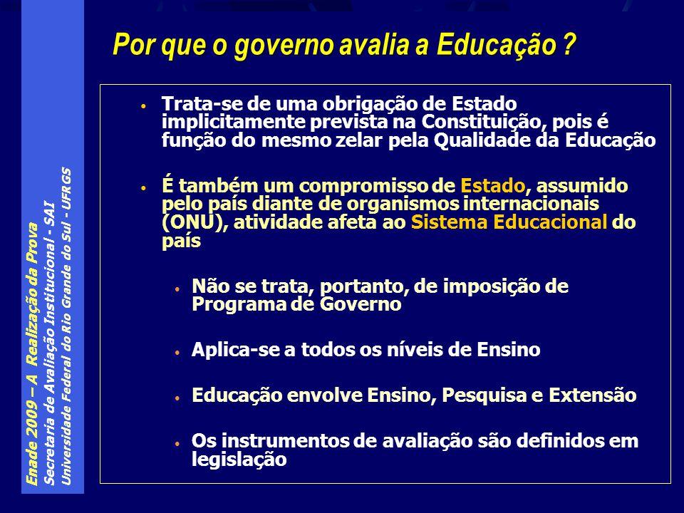 Enade 2009 – A Realização da Prova Secretaria de Avaliação Institucional - SAI Universidade Federal do Rio Grande do Sul - UFRGS Trata-se de uma obrigação de Estado implicitamente prevista na Constituição, pois é função do mesmo zelar pela Qualidade da Educação É também um compromisso de Estado, assumido pelo país diante de organismos internacionais (ONU), atividade afeta ao Sistema Educacional do país Não se trata, portanto, de imposição de Programa de Governo Aplica-se a todos os níveis de Ensino Educação envolve Ensino, Pesquisa e Extensão Os instrumentos de avaliação são definidos em legislação Por que o governo avalia a Educação