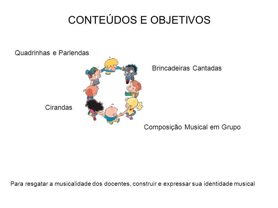 CONTEÚDOS E OBJETIVOS Brincadeiras Cantadas Cirandas Quadrinhas e Parlendas Composição Musical em Grupo Para resgatar a musicalidade dos docentes, con