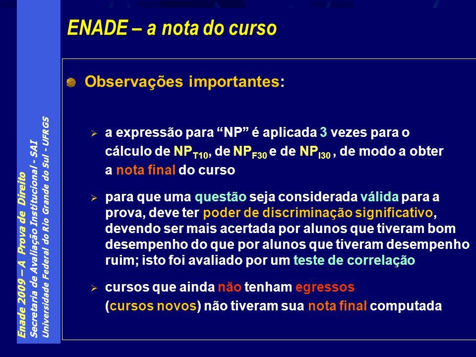 Enade 2009 – A Prova de Direito Secretaria de Avaliação Institucional - SAI Universidade Federal do Rio Grande do Sul - UFRGS Observações importantes:
