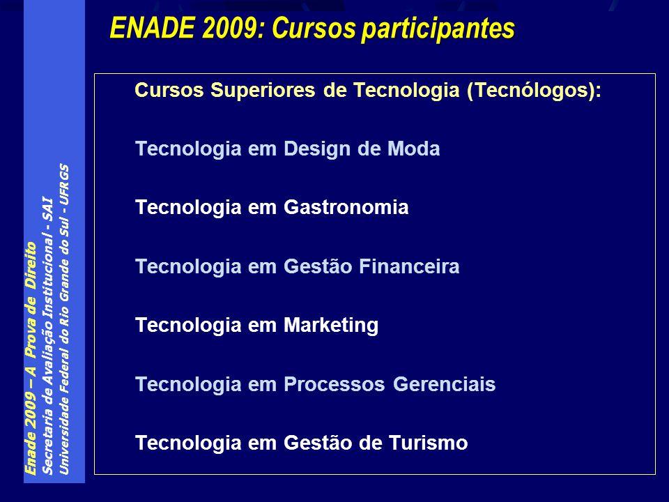 Enade 2009 – A Prova de Direito Secretaria de Avaliação Institucional - SAI Universidade Federal do Rio Grande do Sul - UFRGS Cursos Superiores de Tecnologia (Tecnólogos): Tecnologia em Design de Moda Tecnologia em Gastronomia Tecnologia em Gestão Financeira Tecnologia em Marketing Tecnologia em Processos Gerenciais Tecnologia em Gestão de Turismo ENADE 2009: Cursos participantes