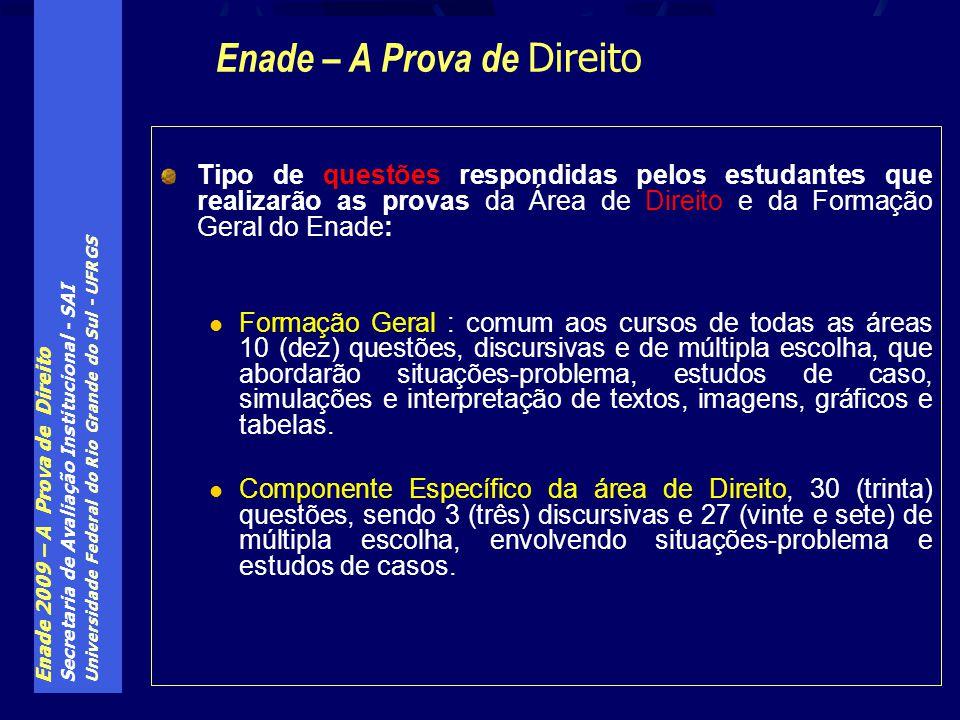 Enade 2009 – A Prova de Direito Secretaria de Avaliação Institucional - SAI Universidade Federal do Rio Grande do Sul - UFRGS Tipo de questões respond