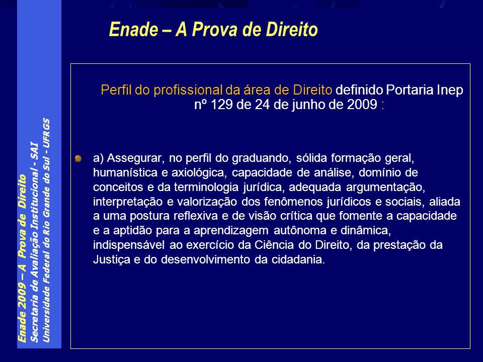 Enade 2009 – A Prova de Direito Secretaria de Avaliação Institucional - SAI Universidade Federal do Rio Grande do Sul - UFRGS Perfil do profissional d