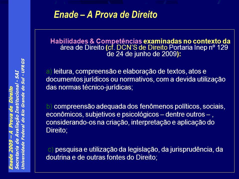 Enade 2009 – A Prova de Direito Secretaria de Avaliação Institucional - SAI Universidade Federal do Rio Grande do Sul - UFRGS Habilidades & Competências examinadas no contexto da área de Direito (cf.