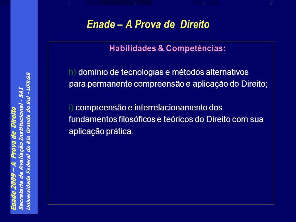 Enade 2009 – A Prova de Direito Secretaria de Avaliação Institucional - SAI Universidade Federal do Rio Grande do Sul - UFRGS Enade – A Prova de Direi