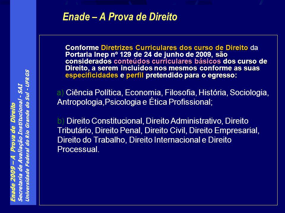 Enade 2009 – A Prova de Direito Secretaria de Avaliação Institucional - SAI Universidade Federal do Rio Grande do Sul - UFRGS Conforme Diretrizes Curr