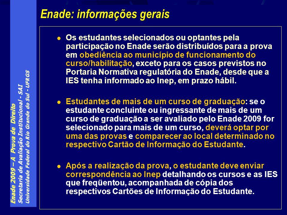 Enade 2009 – A Prova de Direito Secretaria de Avaliação Institucional - SAI Universidade Federal do Rio Grande do Sul - UFRGS Os estudantes selecionad