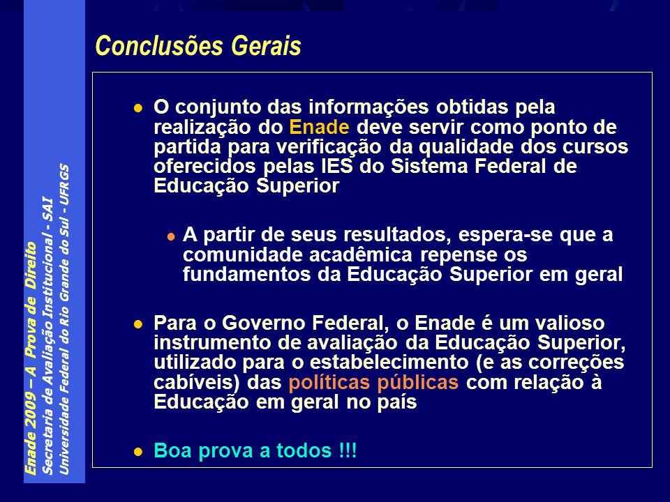 Enade 2009 – A Prova de Direito Secretaria de Avaliação Institucional - SAI Universidade Federal do Rio Grande do Sul - UFRGS O conjunto das informaçõ