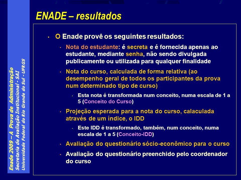 Enade 2009 – A Prova de Administração Secretaria de Avaliação Institucional - SAI Universidade Federal do Rio Grande do Sul - UFRGS O Enade provê os s