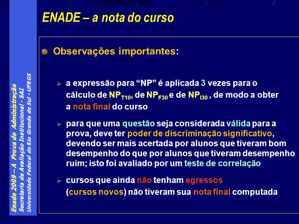 Enade 2009 – A Prova de Administração Secretaria de Avaliação Institucional - SAI Universidade Federal do Rio Grande do Sul - UFRGS Observações import