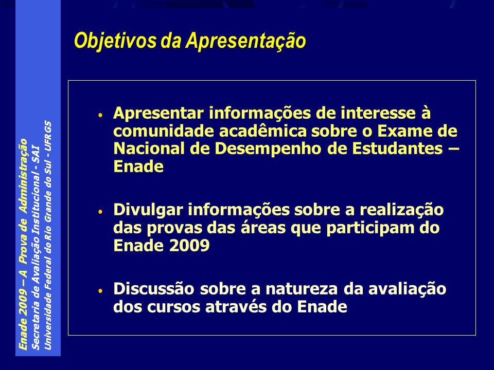 Enade 2009 – A Prova de Administração Secretaria de Avaliação Institucional - SAI Universidade Federal do Rio Grande do Sul - UFRGS A nota final para obtenção do conceito do curso é dada pela expressão: NF = 0,25*NP T10 + 0,60*NP F30 + 0,15*NP I30 Onde: NP T10 – é a nota padronizada dos alunos iniciantes e concluintes do curso nas 10 questões sobre conhecimentos gerais NP F30 – é a nota padronizada dos alunos concluintes do curso nas 30 questões de conhecimentos de área do curso NP I30 – é a nota padronizada dos alunos iniciantes do curso nas 30 questões de conhecimentos de área do curso ENADE – a nota do curso