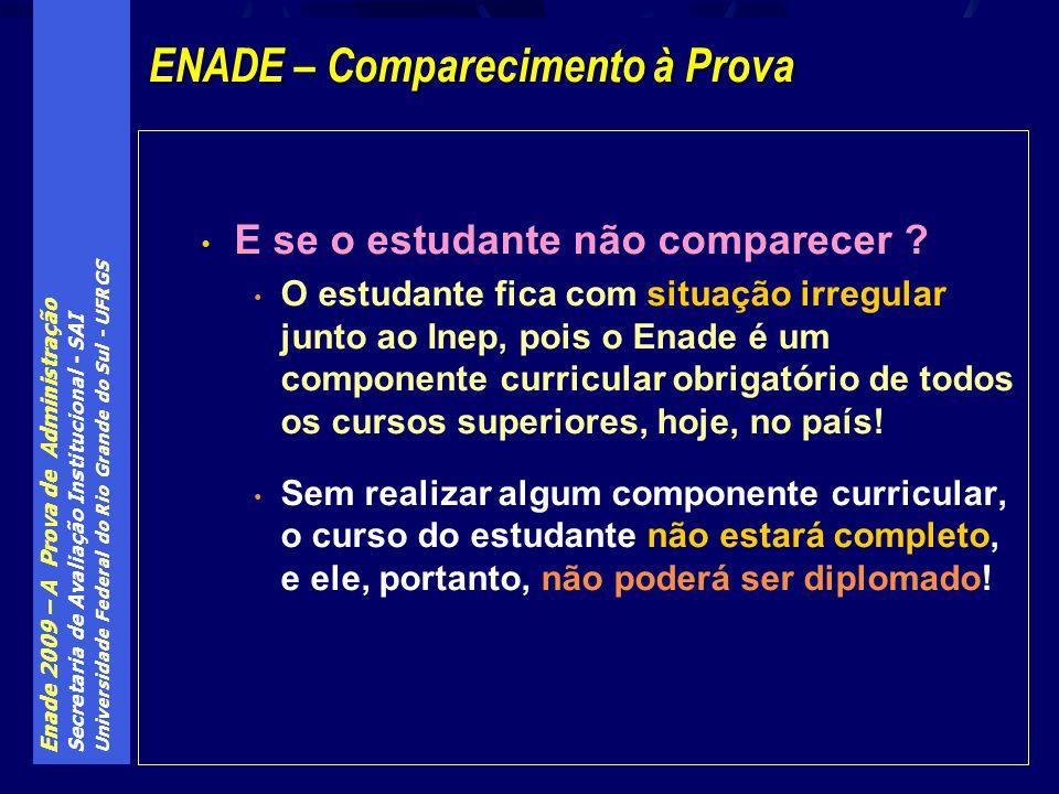 Enade 2009 – A Prova de Administração Secretaria de Avaliação Institucional - SAI Universidade Federal do Rio Grande do Sul - UFRGS E se o estudante n
