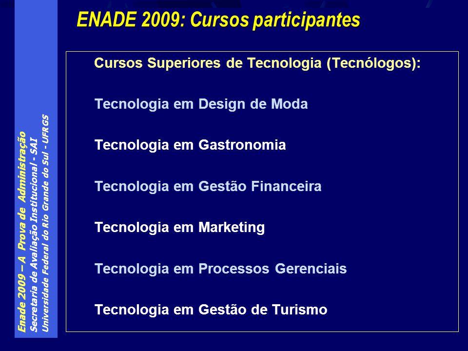 Enade 2009 – A Prova de Administração Secretaria de Avaliação Institucional - SAI Universidade Federal do Rio Grande do Sul - UFRGS Cursos Superiores