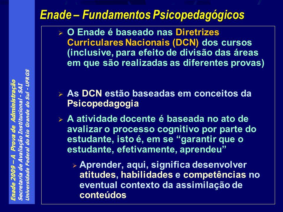 Enade 2009 – A Prova de Administração Secretaria de Avaliação Institucional - SAI Universidade Federal do Rio Grande do Sul - UFRGS O Enade é baseado