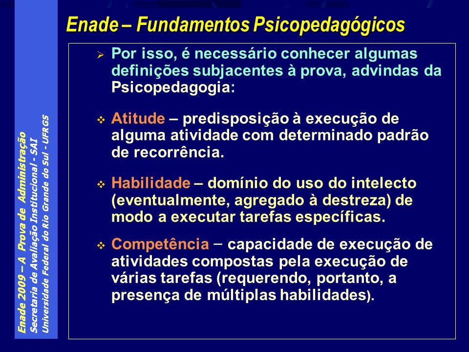 Enade 2009 – A Prova de Administração Secretaria de Avaliação Institucional - SAI Universidade Federal do Rio Grande do Sul - UFRGS Por isso, é necess