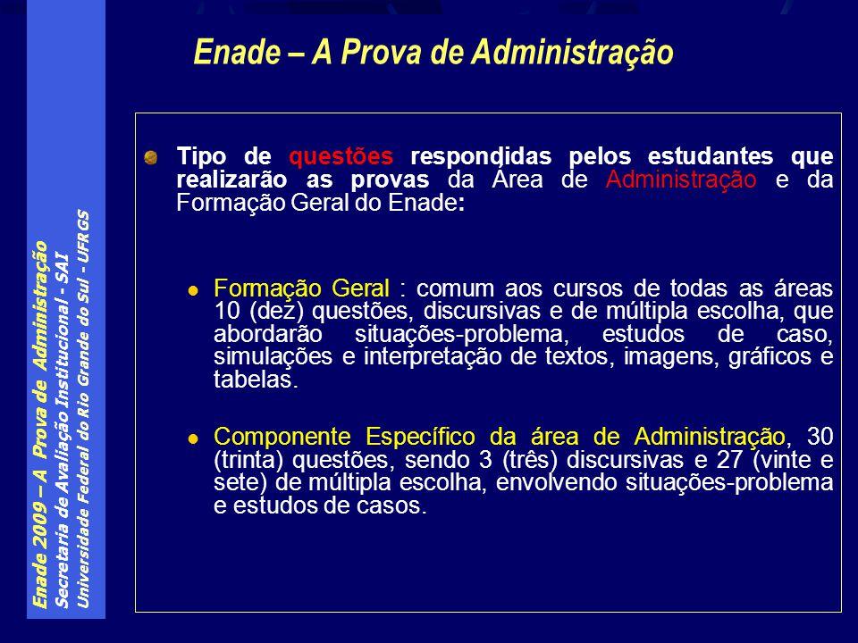 Enade 2009 – A Prova de Administração Secretaria de Avaliação Institucional - SAI Universidade Federal do Rio Grande do Sul - UFRGS Tipo de questões r