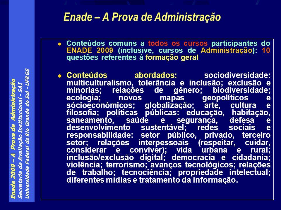 Enade 2009 – A Prova de Administração Secretaria de Avaliação Institucional - SAI Universidade Federal do Rio Grande do Sul - UFRGS Conteúdos comuns a