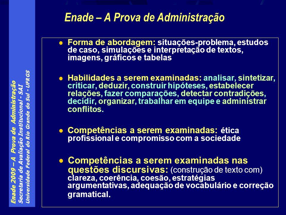 Enade 2009 – A Prova de Administração Secretaria de Avaliação Institucional - SAI Universidade Federal do Rio Grande do Sul - UFRGS Forma de abordagem