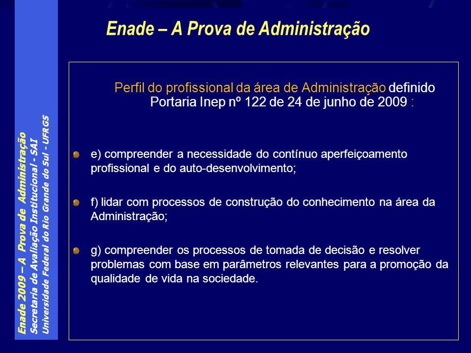 Enade 2009 – A Prova de Administração Secretaria de Avaliação Institucional - SAI Universidade Federal do Rio Grande do Sul - UFRGS Perfil do profissi