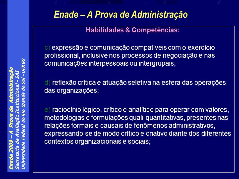 Enade 2009 – A Prova de Administração Secretaria de Avaliação Institucional - SAI Universidade Federal do Rio Grande do Sul - UFRGS Habilidades & Comp