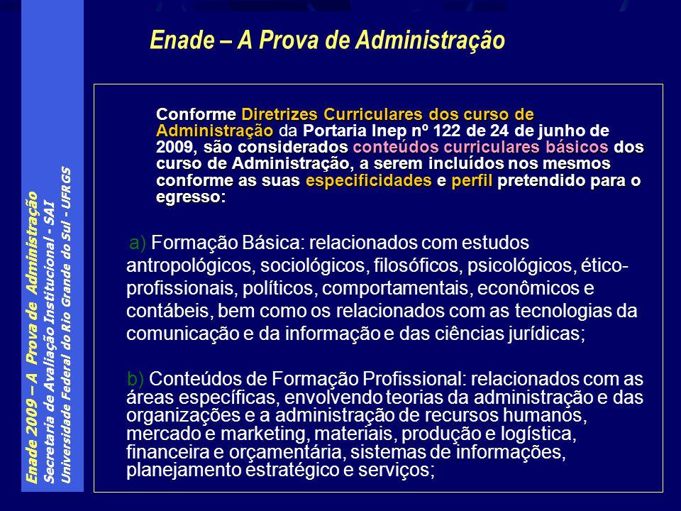 Enade 2009 – A Prova de Administração Secretaria de Avaliação Institucional - SAI Universidade Federal do Rio Grande do Sul - UFRGS Conforme Diretrize