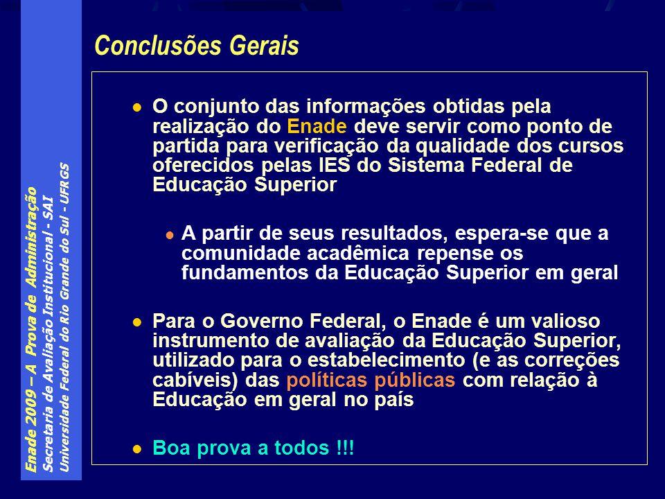 Enade 2009 – A Prova de Administração Secretaria de Avaliação Institucional - SAI Universidade Federal do Rio Grande do Sul - UFRGS O conjunto das inf