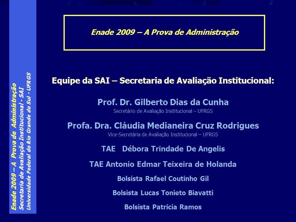 Enade 2009 – A Prova de Administração Secretaria de Avaliação Institucional - SAI Universidade Federal do Rio Grande do Sul - UFRGS Enade 2009 – A Pro