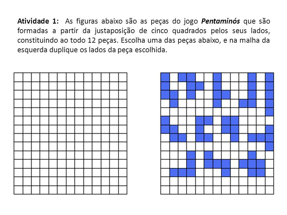Atividade 1: As figuras abaixo são as peças do jogo Pentaminós que são formadas a partir da justaposição de cinco quadrados pelos seus lados, constitu