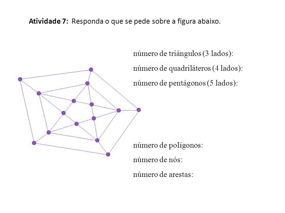Atividade 7: Responda o que se pede sobre a figura abaixo. número de triângulos (3 lados): número de quadriláteros (4 lados): número de pentágonos (5